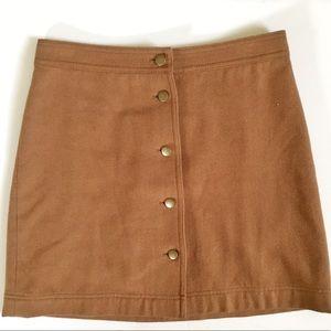 Madewell Wool Button-Front Skirt 0